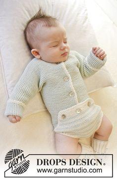 """Body DROPS en punto musgo con orilla a ganchillo, en """"Baby Merino"""". Talla: prematuro – 4 años. Patrón gratuito de DROPS Design."""