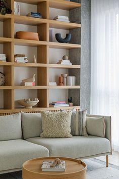 Bookcase Behind Sofa, Sofa Shelf, Built In Shelves Living Room, Built In Sofa, Bookshelves In Living Room, Built In Bookcase, Living Room Sofa, Bookcases, Home Living Room