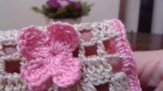 Porta caixas de fósforos de crochê (13 - incluiu flor de crochê) #crochet, #croche, #crochetfilet, #portacaixasdefosforos, #flordecroche