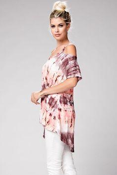 @knittedbelle #knittedbelle Cutout Tie Dye Top - Coral