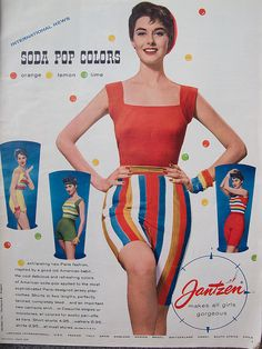 Jantzen by huppypie, via Flickr 1956 color photo print ad model magazine casual day wear beach resort shorts top shirt tshirt knit stripes red green yellow 50s vintage fashion style
