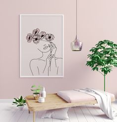 Abstract Woman with Flowers Line Art Print, Female Face Single Line Drawing : Abstract Woman with Flowers Line Art Print, Female Face Single Line Drawing, Face and Flowers Wall Art, Blush Pink Printable Art Boho Decor Face Line Drawing, Single Line Drawing, Drawing Tips, Drawing Women, Drawing Drawing, Drawing Tutorials, Painting Tutorials, Figure Drawing, Bohemian Room