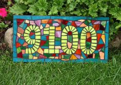 Confetti Mosaic Stained Glass House Number by JooolesDesign, $110.00 Mosaic Crafts, Mosaic Art, Mosaic Glass, Mosaic Tiles, Fused Glass, Stained Glass, Auction Projects, Craft Projects, House Numbers