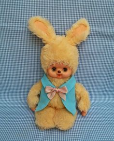 monchhichi yellow bunny Tak flashing japan doll Bunny, Teddy Bear, Japan, Dolls, Yellow, Friends, Animals, Rabbit, Animales