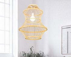 Natural design just for natural life. by WalmHomie on Etsy Plug In Chandelier, Plug In Wall Sconce, Rattan Light Fixture, Rattan Pendant Light, Fish Wall Decor, Room Wall Decor, Chinese Lamps, Asian Lamps, Everything Is Illuminated