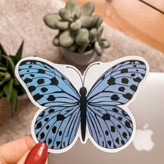This is my handmade and waterproof Butterfly-Sticker. Stickers, Sticker Shop, Blue Butterfly, Sd, Vintage, Handmade, Shopping, Trading Cards, Craft Gifts