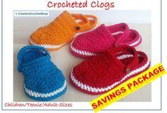 BUNDLE: Crocheted Clogs, Sizes Sizes Child 6 – Women 10.5/11