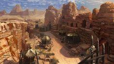 Settlement in a desert canyon.: