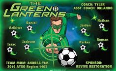 Green Lanterns B54239  digitally printed vinyl soccer sports team banner. Made in the USA and shipped fast by BannersUSA.  You can easily create a similar banner using our Live Designer where you can manipulate ALL of the elements of ANY template.  You can change colors, add/change/remove text and graphics and resize the elements of your design, making it completely your own creation.
