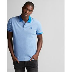 Express Tipped Small Lion Stretch Pique Polo ($50) ❤ liked on Polyvore featuring men's fashion, men's clothing, men's shirts, men's polos, blue, mens blue shirt, mens stretch shirts, mens polo shirts, mens pique polo shirts and mens blue polo shirts