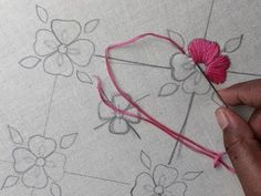 Hand embroidery all over design | All over design for dresses - YouTube Learn Embroidery, Hand Work Embroidery, Hand Embroidery Stitches, Ribbon Embroidery, Cross Stitch Embroidery, Floral Embroidery, Hand Embroidery Designs, Crewel Embroidery, Hand Embroidery Projects
