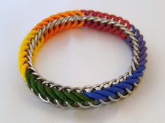 Stretchy Rainbow Bracelet #chainmaille #pride #rainbow #lgbt #glbt