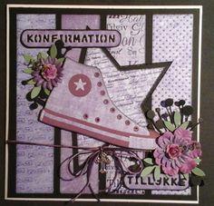 Uha det er lang tid siden jeg sidst har opdateret min blog. Det er ellers ikke fordi jeg ikke laver noget, men det meste ryger på Hobbybode... First Communion Cards, Girl Birthday Cards, Young Ones, Kids Cards, Scrapbook Cards, Card Making, How To Make, Handmade, Frame