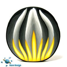 Polymer clay cane black yellow PETAL cane by Mars by marsdesign