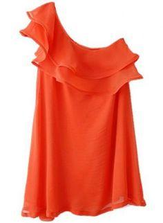 Orange Day Dress - Orange One-Shoulder Cascading Ruffle Chiffon