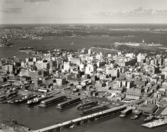 Pyrmont Bridge, Darling Harbour & City looking East North West - Royal Society Of Arts, Harbor City, Sydney City, Darling Harbour, Historical Architecture, Next At Home, Sydney Australia, Aerial Photography, Historical Photos