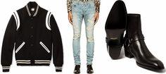 SAINT LAURENT Boots, Ripped Jeans, Varsity Jacket & Bracelet
