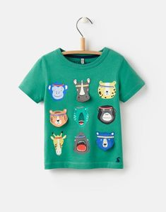 Joules US CHOMPER Boys Applique T-Shirt 1-6yr Apple Green Animals