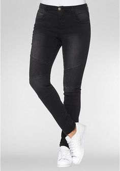 sheego Denim Power-Stretch-Jeans im Biker-Look – black Denim