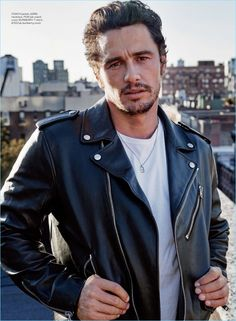 Sporting a Coach leather biker jacket, James Franco also wears a Burberry t-shirt.
