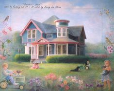 """Let springtime begin . . . """"Grandma's House"""" is a 2002 oil painting size 24 x 30 inches, by Nancy Lee Moran"""