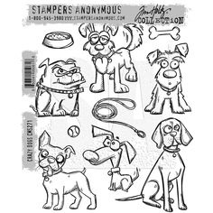 Tim Holtz Cling Rubber Stamps 2016 CRAZY DOGS CMS271 zoom image