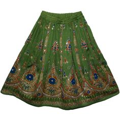 Green Sequined Short Indian Skirt - Sale on bags, skirts, jewelry at polkadotinc.com