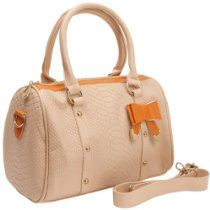 MG Collection TILLY Beige Crocodile Print Bow Accent Doctor Style Tote Purse