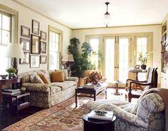 living room design with indoor plants