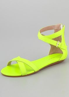 Rebecca Minkoff sandals in neon.  OBSESSED!!!!!!!!!!