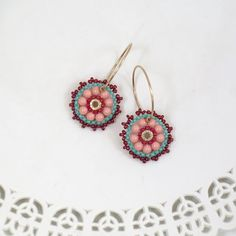 Turquoise & coral earrings, Beaded hoop earrings, Teen girl gifts, Sweet 16 jewelry, Everyday earrings, Peach earrings, Colorful earrings