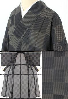 黒灰色と白灰色の二色使いで市松格子の紗着物です。  <シチュエーション> 7月、8月の盛夏に、紗や絽、羅の夏帯を締めてカジュアルにお使いください。  <風合> シャリ感のあるさらさらとした手触りで夏にもべたつかず涼しく着られそうです。   【楽天市場】紗着物(夏着物) 黒灰×白灰 市松格子【送料無料】 【中古】【リサイクル着物・リサイクルきもの・アンティーク着物・中古着物】:ビスコンティ&きもの忠右衛門