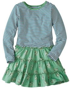 For the girl that loves to mix it up, stripes and graphic flowers play together in a twirly flounced dress done Hanna-style: soft and super-washable.   <br>•Stretch cotton/spandex jersey bodice <br>•100% combed cotton jersey tiered skirt <br>•Skirt is printed in Europe for long-playing colors <br>•Certified by OEKO-TEX® Standard 100 | 03.U.9375 - FI Hohenstein  <br>•Prewashed <br>•Imported