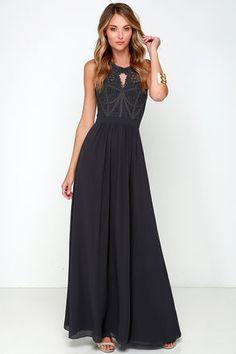 Bariano Optimum Opulence Dark Blue Grey Lace Maxi Dress at Lulus.com!