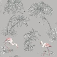 Flamingo Lake Grey Coral Palm Trees Bird Feature Wallpaper 12381