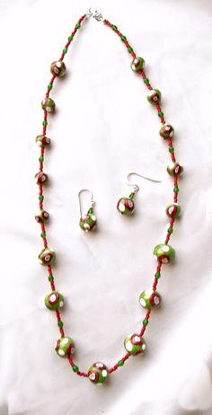 Christmas jewelry Polymer clay jewelry Beaded by UniquelyArdath