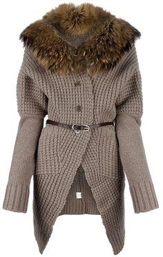 PAROSH Fur Collar Cardigan - Lyst
