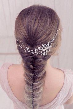 Vid de pelo nupcial novia pedazo boda casco perla por EoliBridal