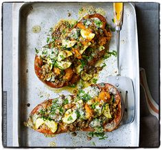Squash with lentils, courgette and blue cheese from TAKE ONE POT by Georgina Fuggle via @Sainsbury's http://www.kylebooks.com/display.asp?K=e2012081012112644