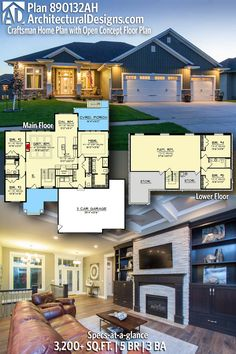 Architectural Designs Craftsman Home Plan gives you 5 bedrooms, 3 baths and sq. Ready when you are! Where do YOU want to build? Craftsman House Plans, New House Plans, Dream House Plans, House Floor Plans, Split Level House Plans, Ranch House Plans, Basement Floor Plans, Bedroom Floor Plans, Basement Ideas