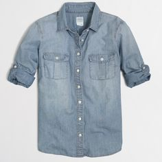 J Crew Chambray Shirt Cotton Denim. Long roll-up sleeves with button-tabs. Machine wash. J. Crew Tops Button Down Shirts