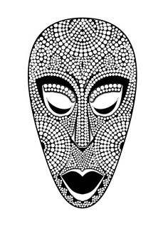 Free coloring page coloring-adult-african-mask. Coloring picture of an impressive African mask