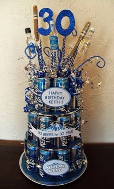 Life on E Avenue Beer cake diy 30 beers for 30 years 30th Party, 30th Birthday Parties, Man Birthday, Birthday Presents, 30th Birthday Ideas For Men Surprise, 30th Birthday For Him, Beer Birthday Cake For Men, Beer Birthday Party, Surprise Ideas