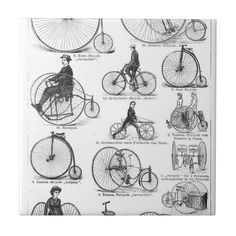 Shop High Wheeler Victorian Penny Farthing Cycle Biking Tile created by antiqueart. Vintage Images, Vintage Art, Vintage Antiques, Penny Farthing, Bike Brands, Road Bike Women, Keepsake Boxes, Graphic Design Illustration, Cool Bikes