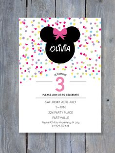 MINNIE Mouse Invitation for Birthday Party - Rainbow Confetti Style - Printable file 7x5 - Print Your Own on Etsy, $14.50