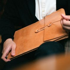"""Handmade 13"""" MacBook Air Leather Envelope Case with Free Monogramming - made to order. $168.00, via Etsy."""