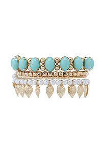 Leaf & Pearl Stackable Bracelets - 4 Pack