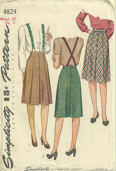 Skirts with braces or suspenders Simplicity 4824 1940s