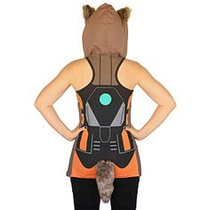 Rocket Raccoon Ladies Tank Top Back view with detachable tail from Thinkgeek.com $39.99