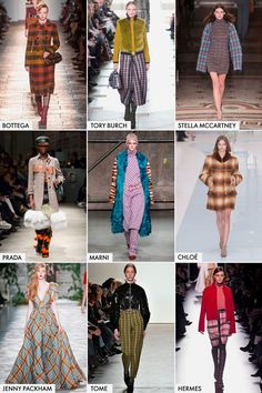'70s Plaid When you hear plaid, you typically think of '90s grunge. But this season is all about the bright plaid from the '70s. The versatile print was crafted into classic coats at Prada, statement pants at Tome, and even premiered as a formal gown at Jenny Packham. GETTY, IMAXTREE